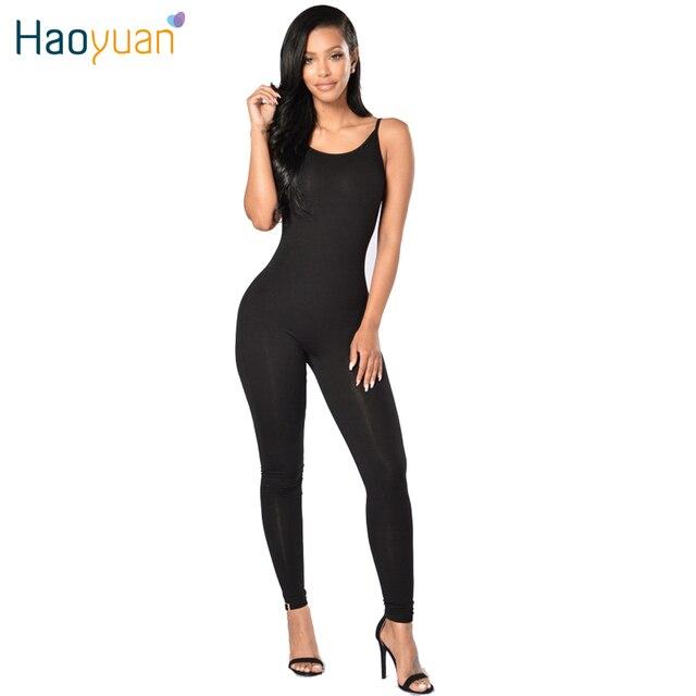 33ae17f3402a € 9.88 27% de DESCUENTO|Haoyuan 2018 nuevo verano sin tirantes correa de  espagueti mujeres sexy Mamelucos y Monos más tamaño negro blanco largo ...