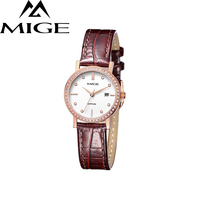 2017 Real New Sale LADIES Watch White Brown Leather FEMALE CLOCK Waterproof ROSE GOLD Case Ultrathin