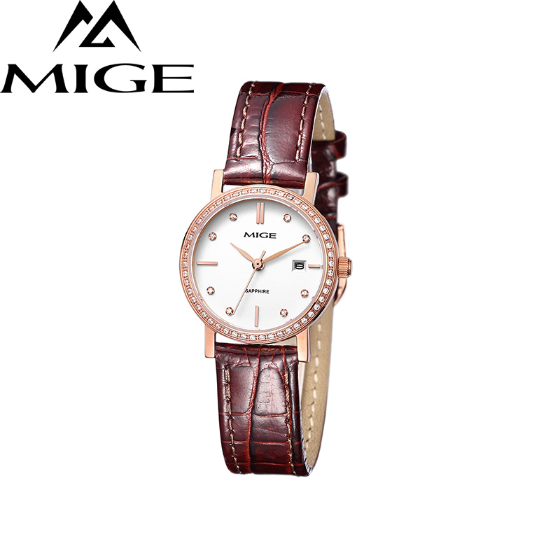 Mige 2017 Real New Sale Ladies Watch White Brown Leather Female Clock Waterproof Rose Gold Case ultrathin Quartz Women Watches mige 20017 new hot sale top brand lover watch simple white dial gold case man watches waterproof quartz mans wristwatches