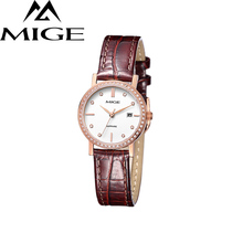 Mige 2017 Real New Sale Ladies Watch White Brown Leather Female Clock Waterproof Rose Gold Case ultrathin Quartz Women Watches