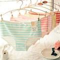 2016 New Brand Panties Navy Wind Stripe Bow Lovely Ladies Underwear Waist Cotton Underwear Female Blue White Stripe Panties T426
