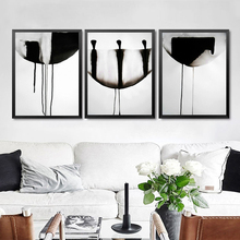 Ink Painting Print Canvas Black White Abstract Wall Picture Modern Poster Room Decor HD2266
