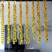 Vite dei fiori artificiali fiore di simulazione di canna Girasole cane di Girasole rattan di fiori a casa della decorazione commercio allingrosso