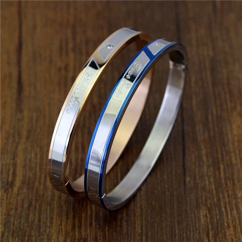 STH061 Wholesale Stainless Steel Bracelets Bangle Women Fashion Jewelry Blue Plated Letters True love Couple Bracelet Men 2019