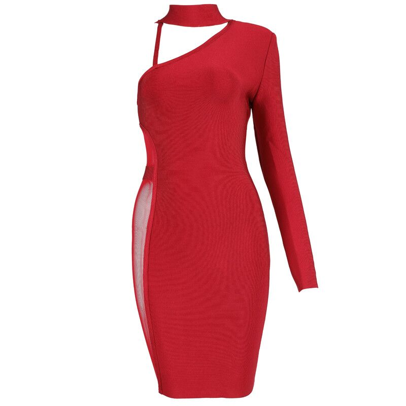 2017 Newest Design Wine Red Bandage Dresses Sexy One Shoulder Long Sleeve Mesh Bodycon Mini Women Evening Party Dresses