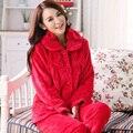 Grossas de inverno quente pijamas mulheres pijamas de flanela feminino longo-sleeved entrega em domicílio gratuitamente