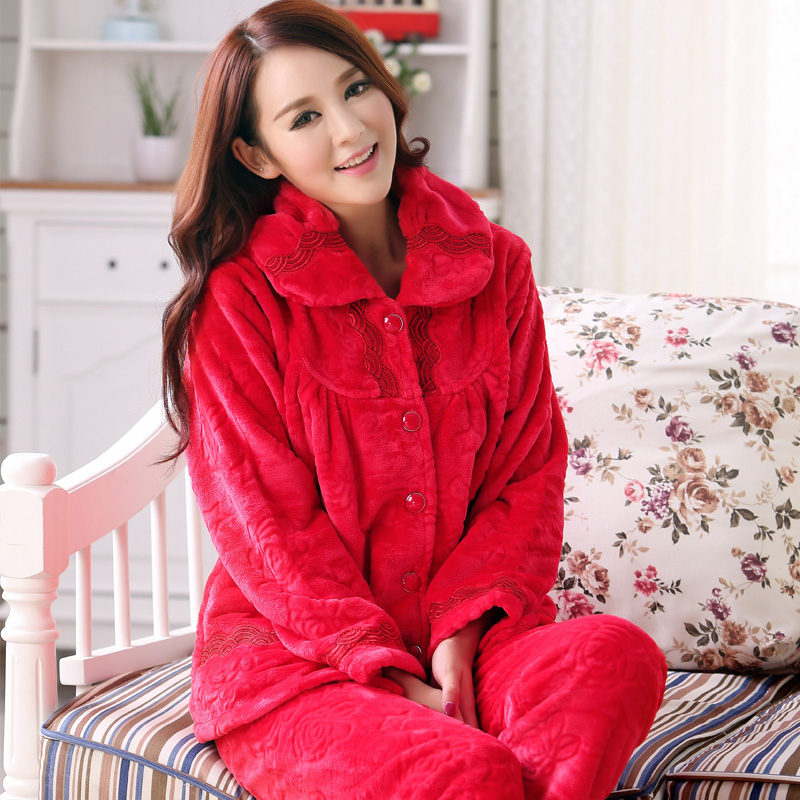 Thick Warm Winter Pajamas Women Flannel Female Long Sleeved Free Home Delivery-in Pajama