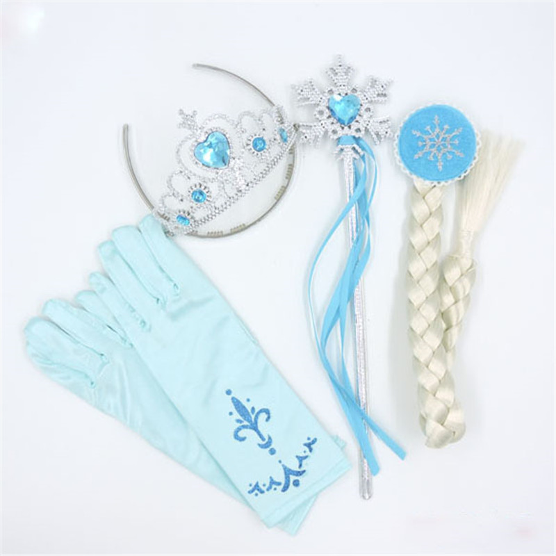 4Pcs/set 6 Styles Elsa Anna Cosplay toy Princess Accessories Crown Gloves Braid Wig Magic Wand Figure Girl Christmas present elsa tiaras princess crown hair accessories crystal diamond candy color tiara magic wand party bridal wedding jewelry accessory