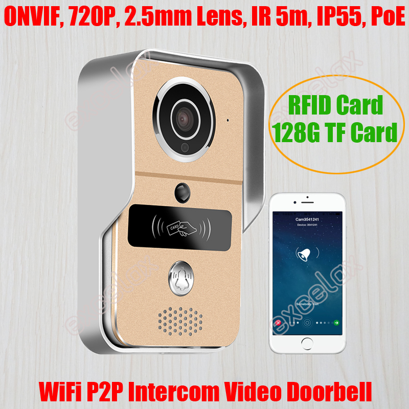 RFID Card TF Store 720P WiFi Video Doorbell Remote Unlock PoE ONVIF Waterproof Night Wireless Intercom