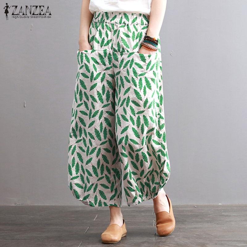2018 ZANZEA Wide Leg Pants Women Cotton Linen Pants Green Leaves Print Casual Elastic Waist Trousers Female Pantalon Plus Size
