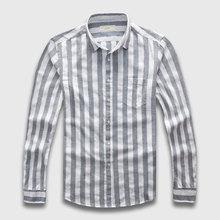 Zecmos Mens Striped Shirts Male Long Sleeve Social Linen Stripe Casual Shirt