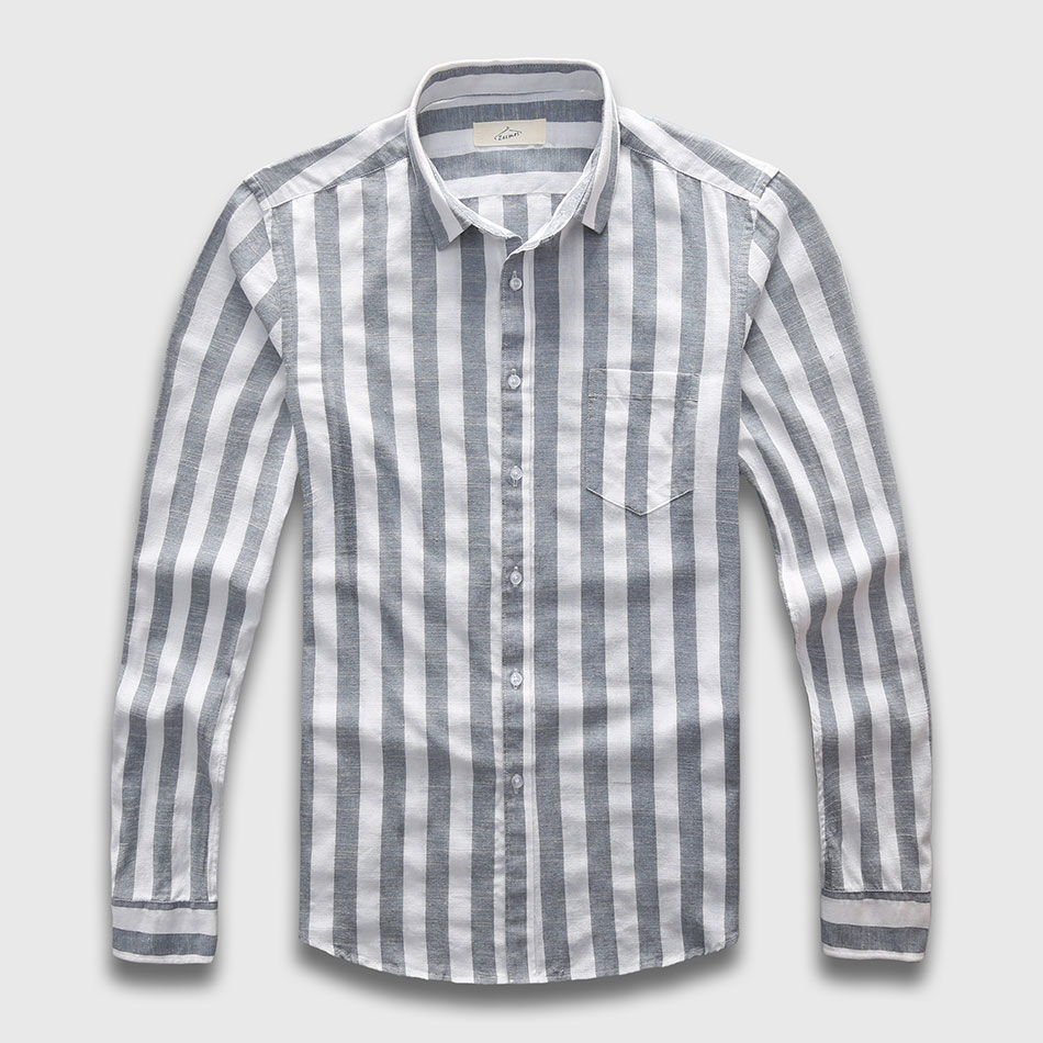 Zecmos Mens Striped Shirts Male Long Sleeve Social Linen Stripe Casual