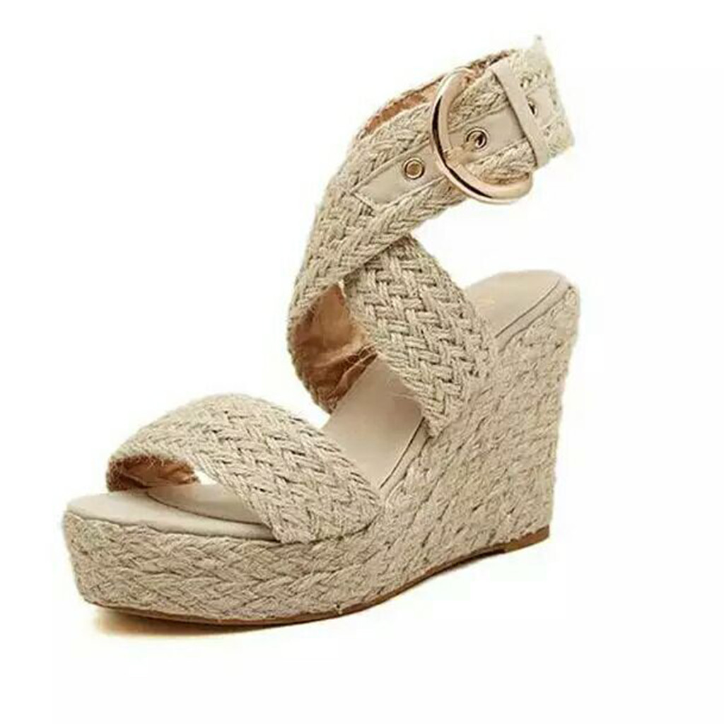 SAGACE Wedges Sandals Roman Shoes Casual Fashion Summer Size-Buckle Big Women 9031211