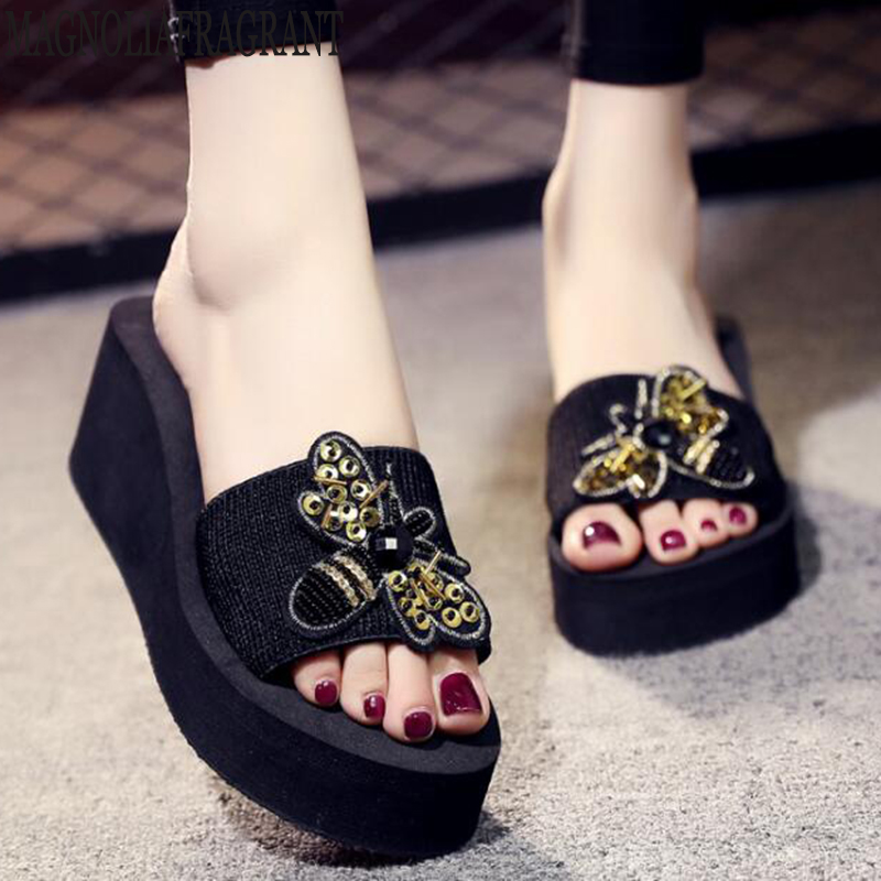 High heels women's slippers Summer beach platform shoes