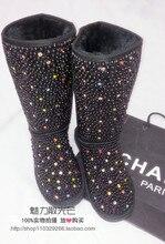 Diamond Black Pearl Diamond Rhinestone Colorful Tall snow boots winter warm fashion women's black genuine leather snow boots