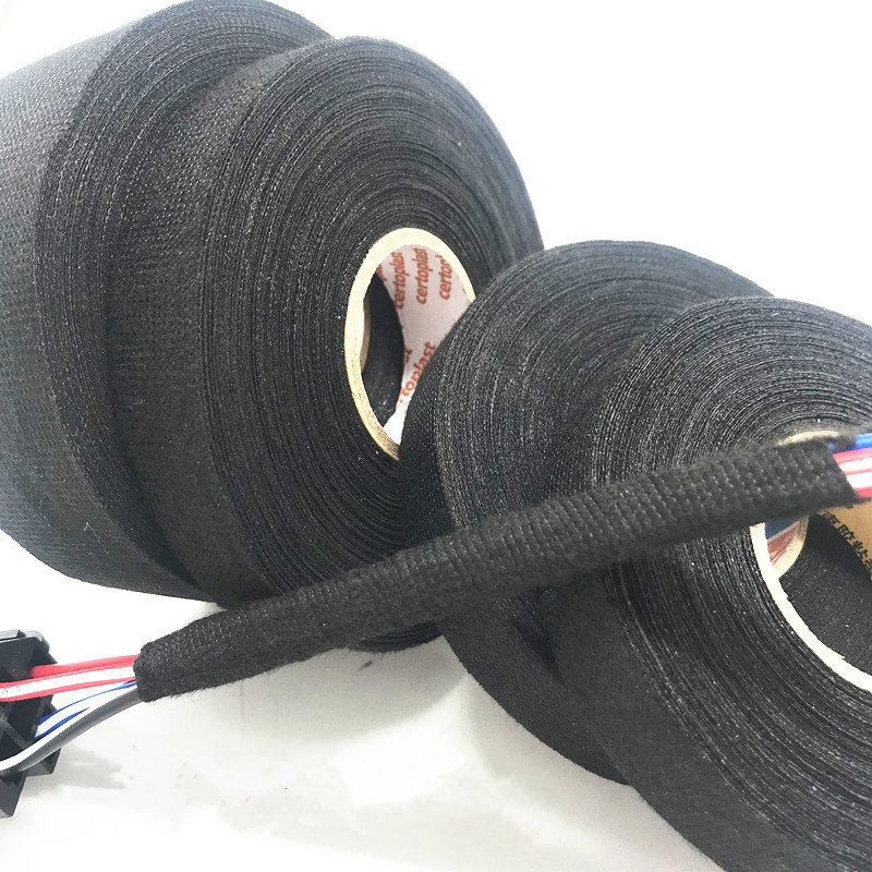 19mmx15m Heat Induced Wiring Harness Tape Insulating Black Flannel Car Anti Rattle Self Adhesive Felt Tape Cable Protection