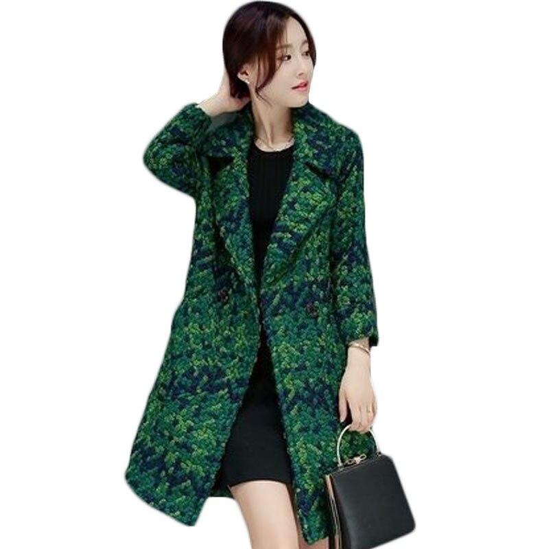 High Quality Woolen Coat Women's Slim Medium long Tweed Jacket Fashion Female Outwear Green Coat 2018 Spring Women Jacket XH930