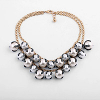 Aristocratic woman's temperament Set in Cube Simulated Pearl Cluster Couture Necklace