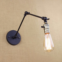 Edison lâmpada de luz longo braço interruptor lâmpada parede armazém loft país da américa retro indústria do vintage ferro pequenas lâmpadas parede
