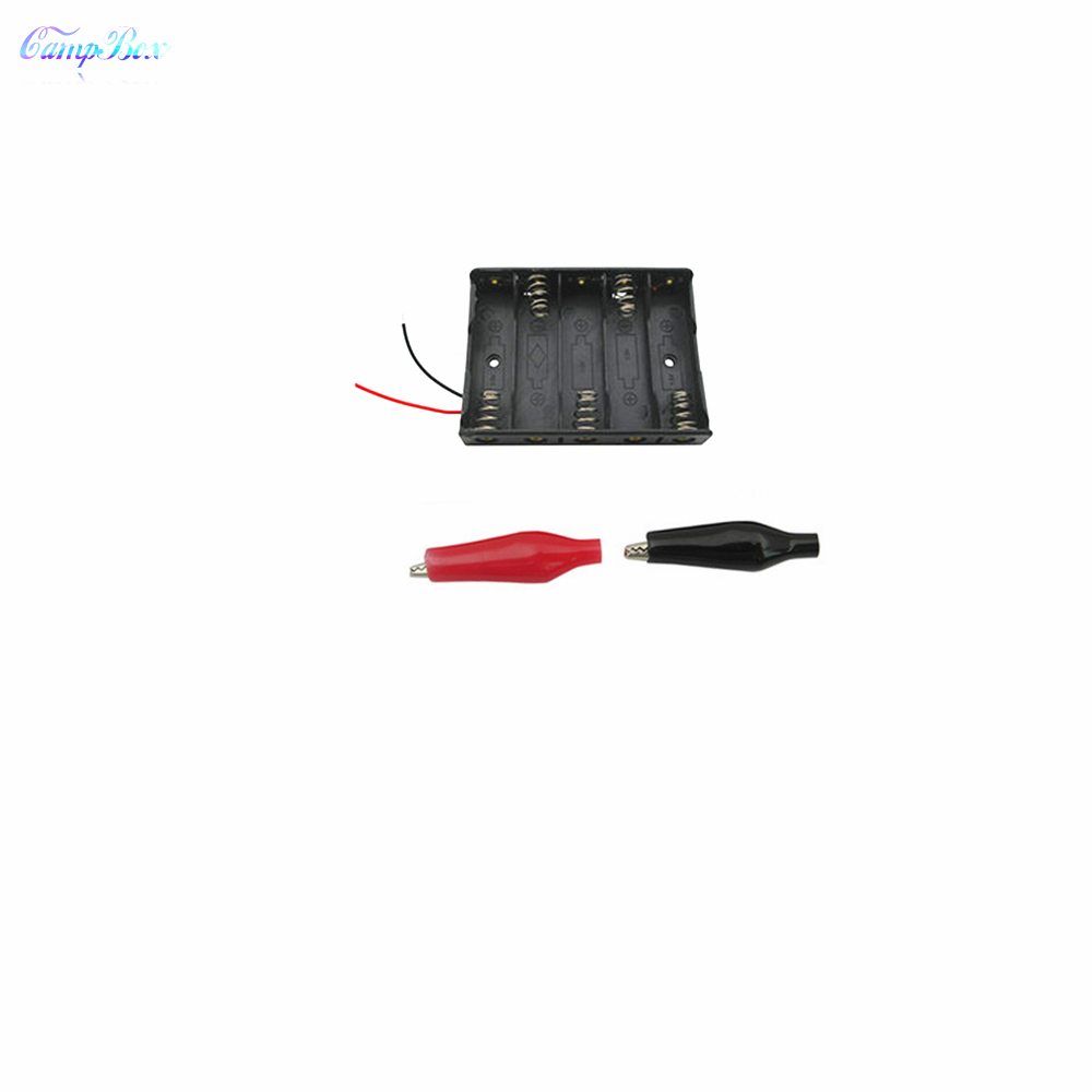 50Pcs 5xAA Battery Case Holder Socket Wire Junction Boxes With 15cm Wires Black Red Crocodile Alligator