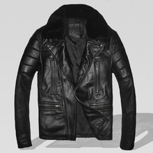 2017 New Men Black Pilot Leather Jacket Wool Collar Genuine Sheepskin Oblique Zipper Slim Fit Men A2 Aviator Coat FREE SHIPPING