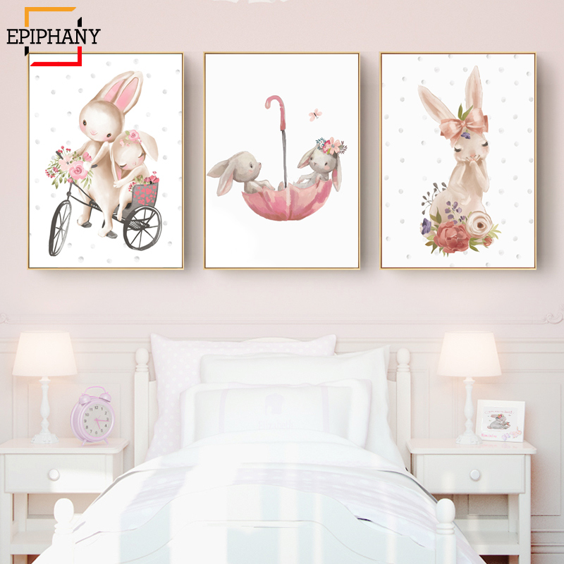 Woodland Bunny Print Floral Boho Nursery Wall Art Rabbit Canvas Painting Posters Cute Cartoon Animal Kids Girls Bedroom Decor