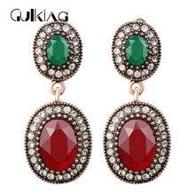 Gulkina Brand Vintage Green Earrings Turkish Jewelry Bijuterias Max Brincos Pingente Big Earrings Princess Hooks Ear