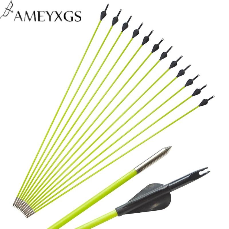 6 PCS Archery Spine 600 Fibreglass Arrows Black  Nocks Compound bow Hunting Practice