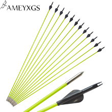 6 PCS Archery Spine 600 Fibreglass Arrows Black  Nocks Compound bow Hunting Practice