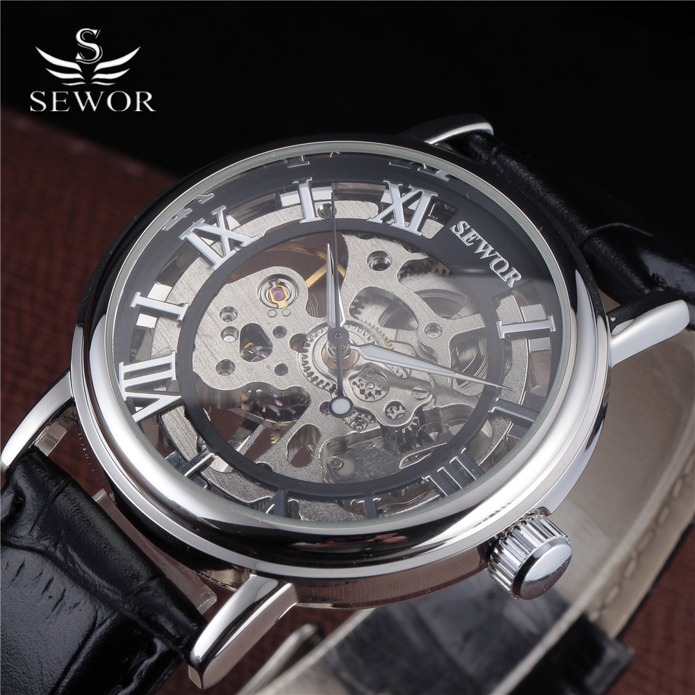 2016 SEWOR Fashion Mechanical Hand-Wind Men Wristwatches Steel Thin Case Transparent Skeleton Leather Strap Male Military Watch fashion men mechanical hand wind watches men skeleton stainless steel wristwatches for male luxury golden watch men