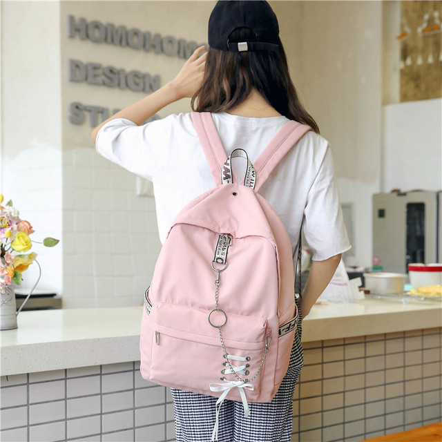 Ulzzang Harajuku Pink Yellow College Schoolbag Chain Ribbon Bow Waterproof  Canvas Backpack Teenage Girl Backpacks Mochilas Bags a9f43f9322