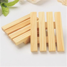Bathroom Natural  Wooden Soap Dish Shower Storage Tray Support plate Drain Sheet Shape soap holder