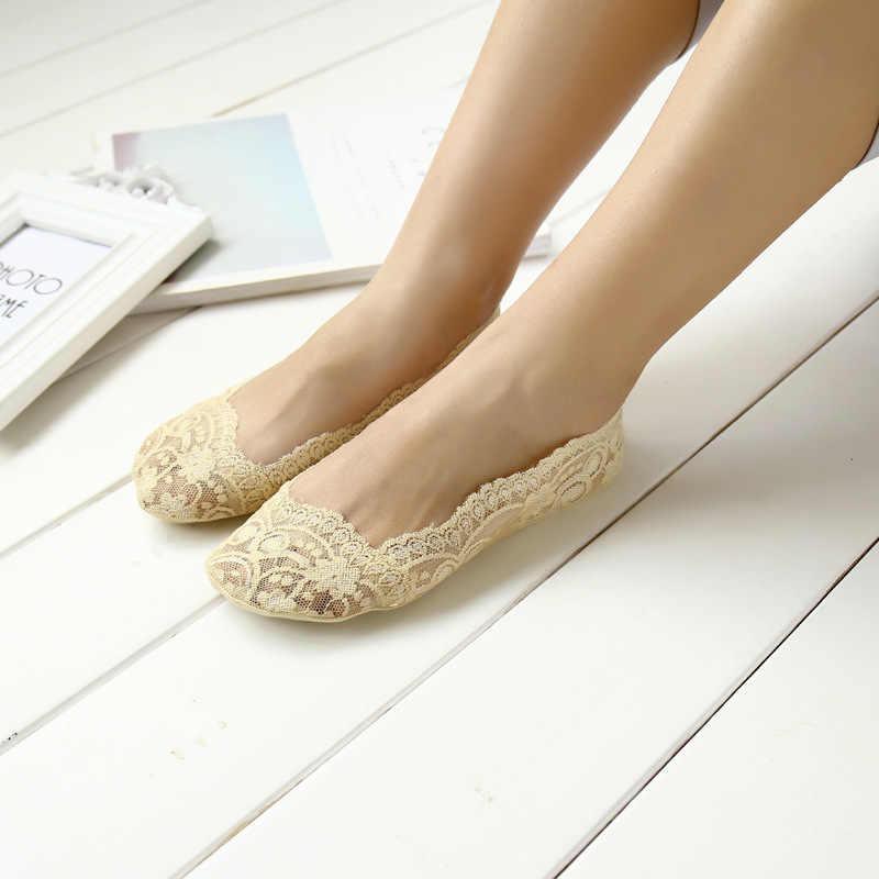 1 çifti Moda Kadınlar Kız Yaz Ince Çorap kaymaz Dantel Çiçek Kısa Çorap Antiskid Görünmez Ayak Bileği Çorap 2019 yeni