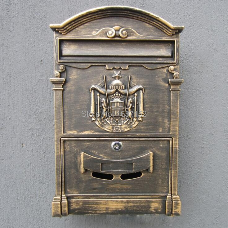 European mailbox mail box Vintage Cast Aluminum Wall Mount Mailbox Mail Box P.O box With 2 Lock Key ...