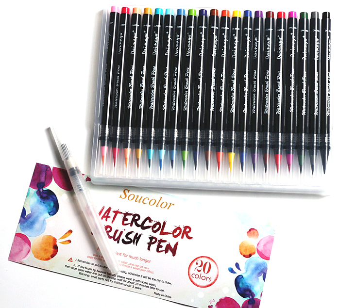 20Color Premium Painting Soft Brush Pen Set Watercolor Markers Pen Effect Best For Coloring Books Manga Comic Calligraphy 20 color premium painting soft brush pen set watercolor art copic markers pen effect best coloring books manga comic calligraphy