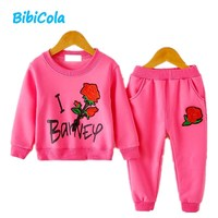 BibiCola sonbahar bebek kız giyim setleri çiçek t gömlek tops + tayt pantolon bebek 2 adet kıyafetler bebek bebek giysileri kızlar için