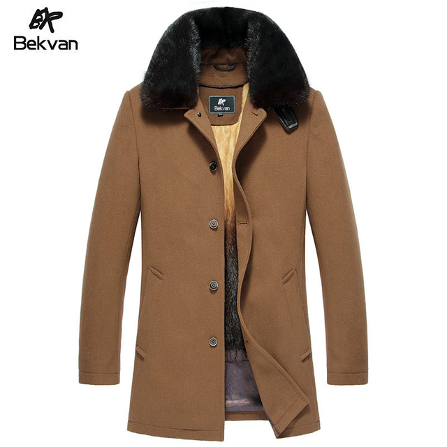 High Quality Woolen Male Mink Fur Turn-Down Collar Leather Clothing Gold Liner Nick Fur Coat Male