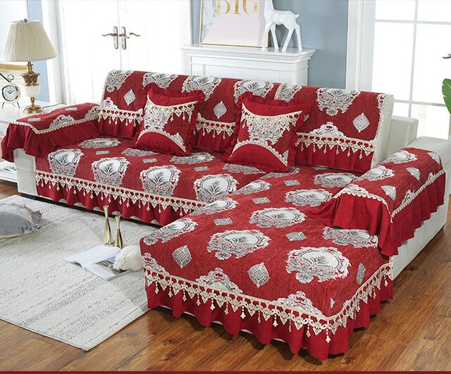 US $13.64 50% OFF|Fyjafon 1 Piece Sofa Cover For Living Room Jacquard  Chenille Lace Sofa Covers Anti slip Sofa Towel Europe Style Red 18cm  Edge-in ...