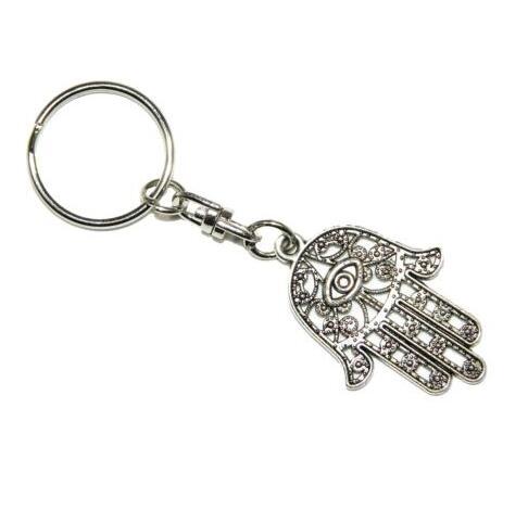 Hot Vintage Silver Charm Hamsa Hand Keychain For Keys Car Lucky Evil Eye Key Ring Souvenir