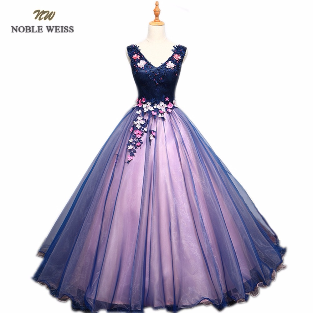 NOBLE WEISS Sexy Purple Prom Dresses V Neck Appliques Beading Flower Lace Robe De Soiree Ball Gown Organza Bare Back Prom Dress-in Prom Dresses from Weddings & Events    1