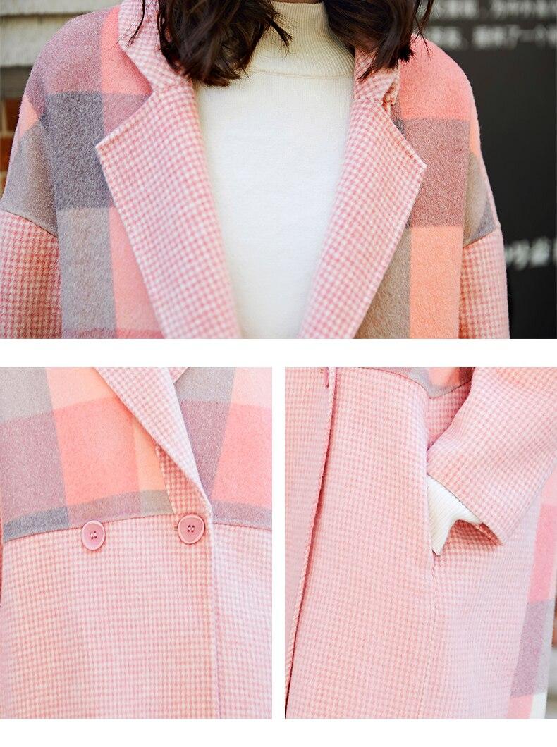Cotton Épaissir D'extérieur Manteau Rose D'automne Femme Plaid 2019 Chauds Nouveau Dame De Rose Mélanges Manteaux Laine Femmes plus Mode Veste En Vêtements Hiver xOqwBZAx