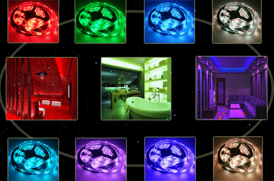 5M 10M 15M 5050 Led Strip DC 12 V RGB Flexible Tape Led Ribbon Led Strip Light With IR Remote For Home kitchen Christmas Party