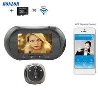 BONLOR WiFi Digital Peephole Door Viewer Willful 3.7 LCD Touch Screen Front Door Peephole Camera Wifi Doorbell with Intercom