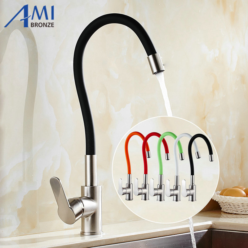 Colorful Kitchen Faucet Pull Up & Down Spring Flexible 360 Degree Rotate Kitchen Sink Mixer Tap  Faucet 9014N Nickel Brushed newly arrived pull out kitchen faucet brushed nickel sink mixer tap 360 degree rotation torneira cozinha mixer taps gyd 7117