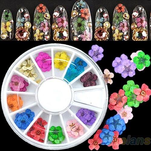 36 pcs 3D Etiqueta Da Arte Do Prego Flores Secas DIY Dicas de Decoração Acrílico Roda
