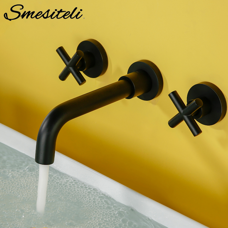 Modern Basin Set 3 hole Silver Gold Alba Black Brass Double Cross Handle Wall Mounted Bathroom