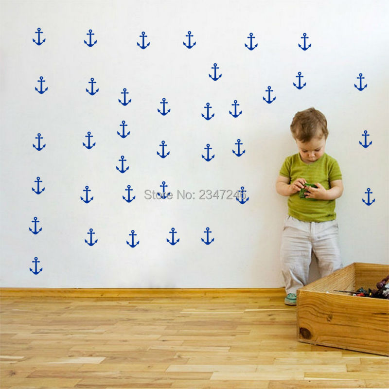 DIY Decorative Anchors Wall Sticker Decorative Vinyl Art Mural Decal for Kids Room Nursery Decoration