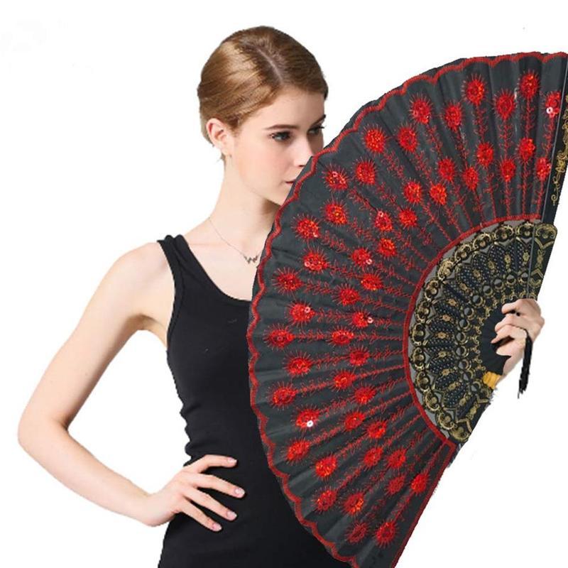 Fashion Peacock Sequin Dance Fan Square Dance Fan Decorative Fans Plastic Cloth Folding Hand Dance Props Decoration For Parties