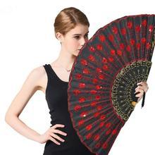 Fashion Peacock Sequin Dance Fan Square Decorative Fans Plastic Cloth Folding Hand Props Decoration For Parties