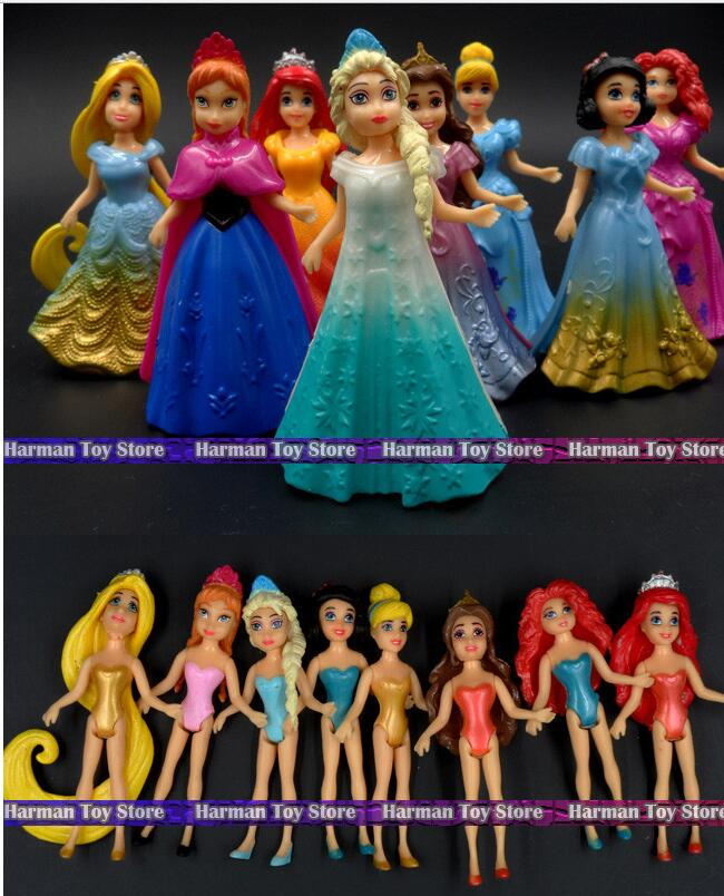 1 Set Magic Clip Dolls Dress Magiclip Princess Figurines Statue Snow White Elsa Anna PVC Action Figures Kids Best Toys